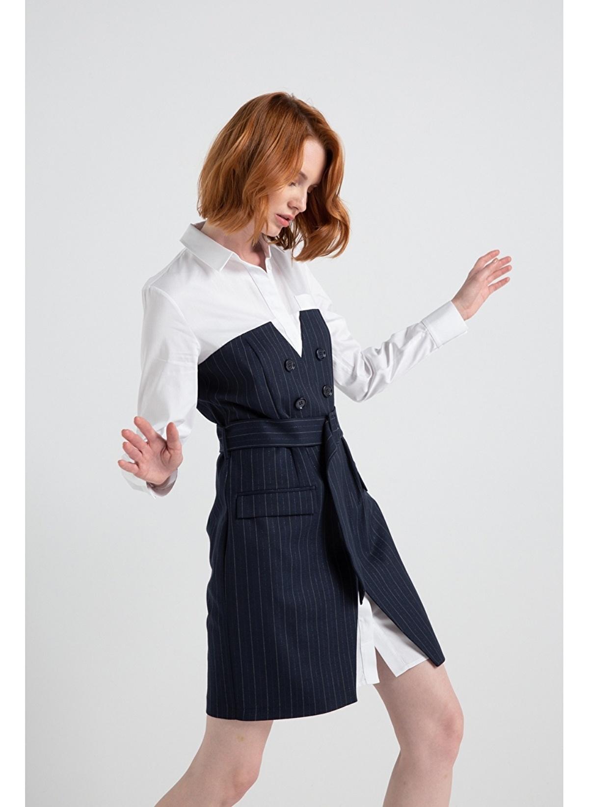 Rue Çift Görünümlü Çizgili Gömlek Elbise 689.0 Tl